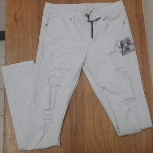 ❤NWT! VIP DESTRUCTED WHITE SKINNY JEANS, size 3/4